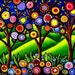 Folk Art Trees Blossoms Colorful Fun Funky Whimsical Giclee Print
