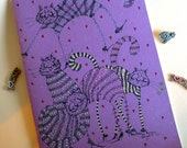 Purple Ecological Recycled OOAK notebook kitties gift Easter spring-Meow Dance
