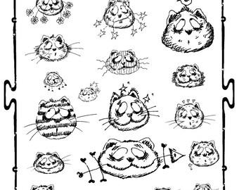 DIY Digital sheet  Cats Gatti Illustration-Download and print-300 DPI-007