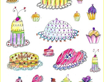 Illustration-Download and print-Collage Sheet-5 CAKES Part I-300 DPI