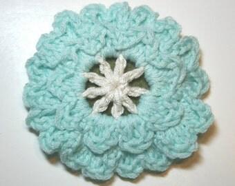 Handmade Teal and White Crochet Flower Pin