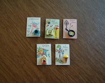 5 Vintage Gift Enclosure Cards