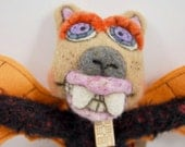 Mohair and wool folk art Lil Outsider hanging art doll animal Bat