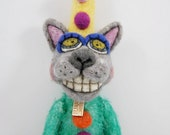 Mohair wool needle felted outsider folk art Carnival style Kitty Cat Ted