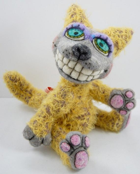 Mohair kitty cat designer plush needle felted Outsider Folk Art toy Sam