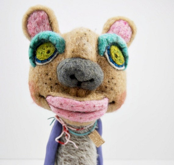 Mohair Wool and Clay designer plush needle felted Lil Outsider folk art doll animal