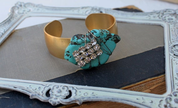 One Of A Kind Vintage Rhinestone, Turquoise, and Brass Assemblage Cuff....Remix