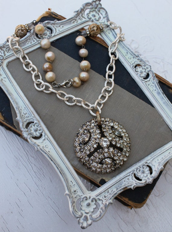Vintage Rhinestone Pearl and Gemstone One of a Kind Assemblage Necklace.....Poise