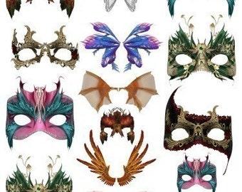 Masks And Wings Masquerade Digital Collage Sheet Masquerade Party Image Transfer Digital Download