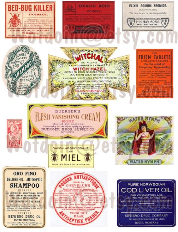 Printable Apothecary or Druggist Labels Perfume Bug Poison Cigar Printable Digital Collage Sheet