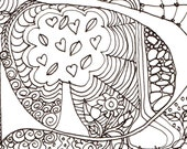 Monogram - S - Initial, Colour-Me-In Illuminated Letters, original art  drawings by melanie j cook