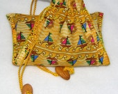 Hand stitched cotton drawstring bag, tarot bag, yellow, sailboats, Sailing Up and Down by melanie j cook