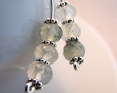 Earrings, Sterling silver and green tourmalinated quartz long earrings. Salt by melanie j cook