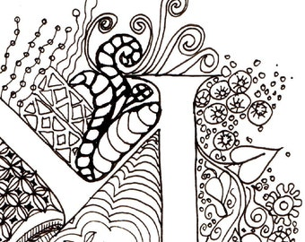 Monogram - M - Initial, Colour-Me-In Illuminated Letters, original art  drawings by melanie j cook