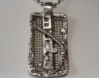 Bugs on a Screen door - fine silver pendant, brass, cubic zirconia.