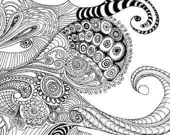 Cephalopod, digital print of an original pen sketch, by melanie j cook.