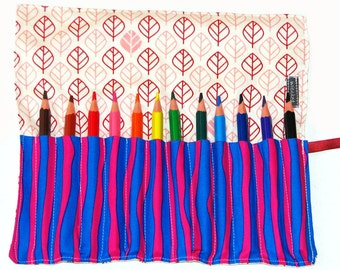 Pencil Roll with 12 Bic Evolution Pencils - Surprise Stripes