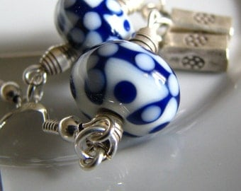 Chinese lantern - blue and white lampworked earrings, sterling silver