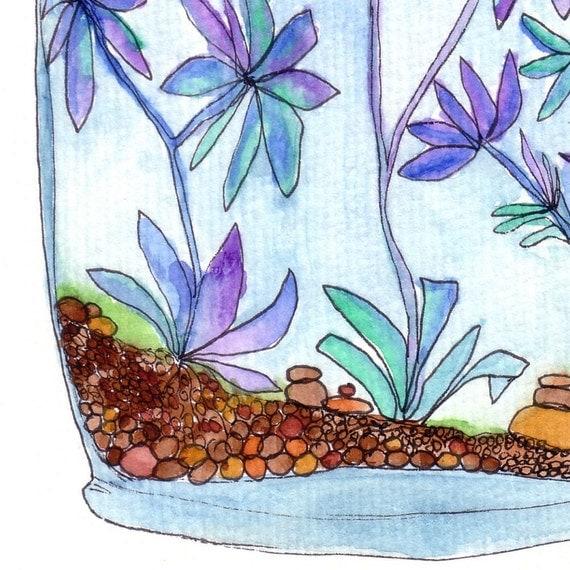 Original Watercolour Painting, The Aloe Jar, by melanie j cook