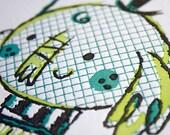 Elephant Umbrella / Letterpress