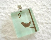 Buy 2 Get 1 Free - Mint Songbird Scrabble Size Pendant