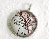 World Traveler Map Necklace - Rome, Italy