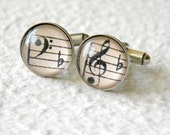 Music Note Cufflinks Cuff Link Set - Treble Clef and Bass Clef - Great gift for musician or Orchestra Member - Vintage Music Sheet Cufflinks