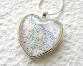 Michigan Map Necklace - Michigan featuring Detroit, The Great Lakes, Grand Rapids, and Lansing