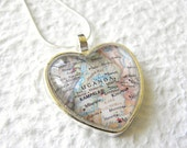 Uganda Map Necklace - Featuring Kampala, Lake Victoria, and more Perfect gift for Adoptive Mother Adoption jewelry