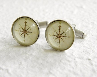 Antique Compass Cufflinks - Pick your compass Great gift for dads and grads