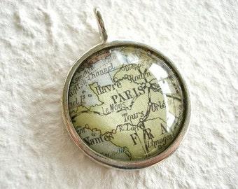 Paris Map Necklace - Map of Paris, France