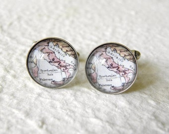 Italy Map Cufflinks Cuff Link Set - Featuring Rome, Naples, Florence, and More - Great for destination wedding - Italy Map Gift Accessories