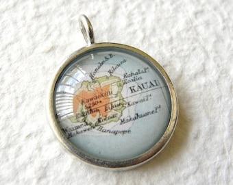 Kauai, Hawaii Map Necklace