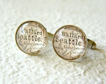 Seattle Map Cufflinks - YOU Choose from 25 maps - Also featuring Tacoma and Bellevue Washington