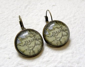 Custom Map Earrings - Pick Your City - Great gift for world traveler - Custom Map Jewelry and gifts