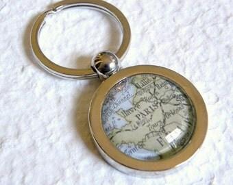 Paris Map Keychain Key Chain Keyring - Paris, France - Great Souvenir