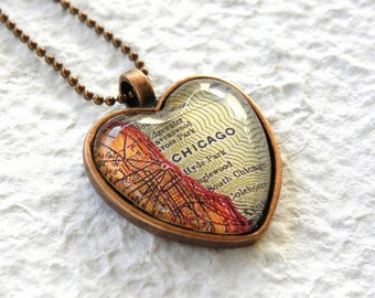 Chicago Map Necklace - Chicago, Illinois - Choose your favorite map from 25 map samples