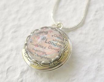 London Map Locket - London, England Necklace