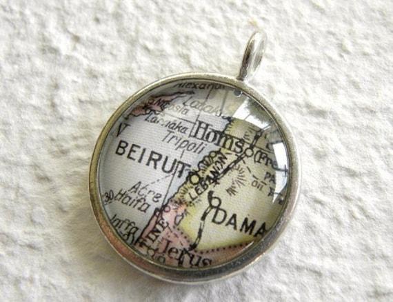 Beirut Map Necklace - Beirut, Lebanon
