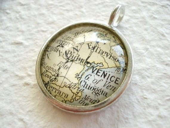 World Traveler Map Necklace or Pendant - Venice, Italy