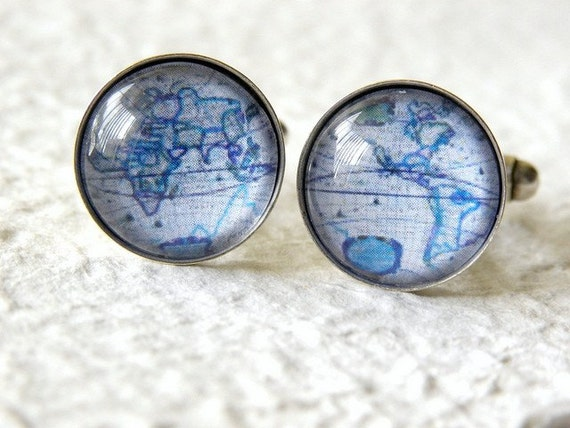World Map Cufflinks - Map of the World Globe Cuff link set - Choose from Blue or Gray - Great gift for travel enthusiast