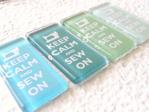 Keep Calm and Sew On Magnet Aqua Blue and Lime Green Set - Tropical Twist