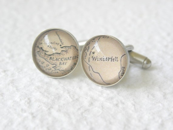 Game of Thrones Map Cufflinks Cuff Links  - Choose from Winterfell, King's Landing, The Wall, Dragonstone, Casterly Rock, and more