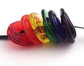 Rainbow - Handmade Lampwork Disc Bead Set (6)