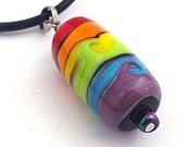 Rainbow Swirl - Handmade Lampwork Bead Necklace
