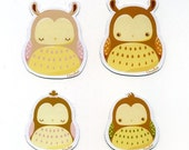 Stumpy Owl Family Magnet Set x 4