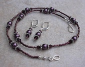 ON SALE - Burgundy Swarovski Crystal and Pearl Necklace and Earring Set