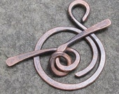 Large Antiqued Copper Toggle Clasp (14 gauge) Hand Forged - 2pcs