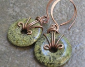 Mossy Green Serpentine Earrings, Antiqued Copper Wrapped Donuts on Handmade Hoopy Earwires