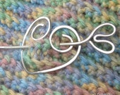 Plump Heart Shawl Pin, Hair Accessory in Lightweight Hammered Aluminum... Mother's Day